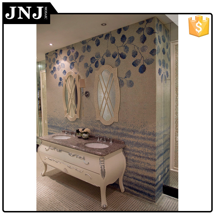 JNJ Mosaic Supplier Glass Material Bathroom Wall Tile Stickers