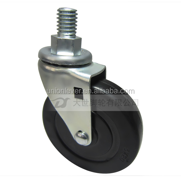 Swivel rubber caster wheel with 3 inch wheel bolt type