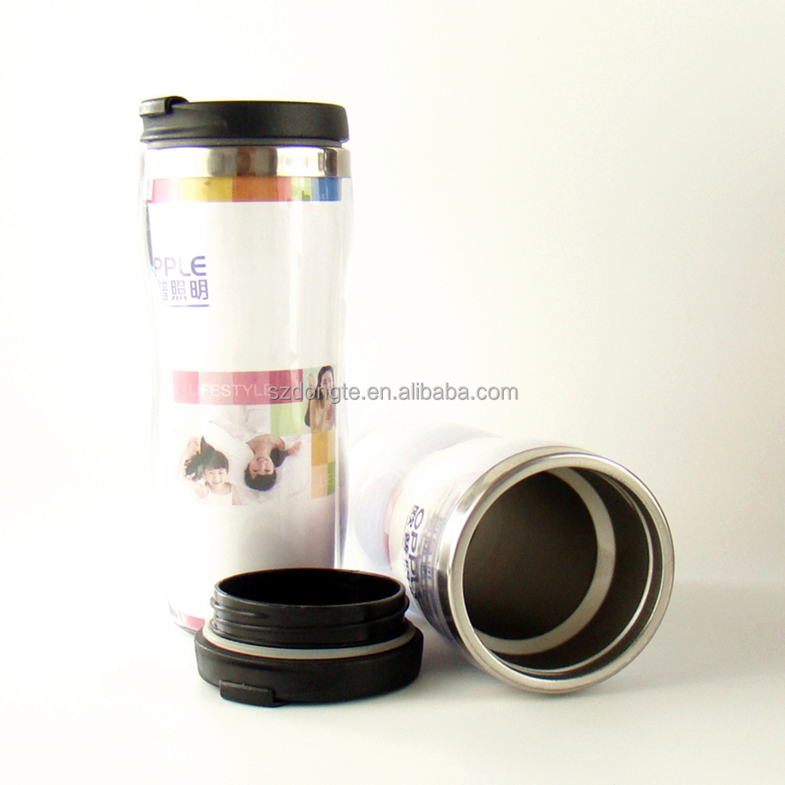 wholesale plastic advertising color high quality cup clear plastic double wall mug