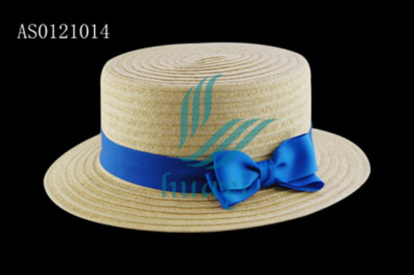 Hot selling ladies paper straw boater hat cheap