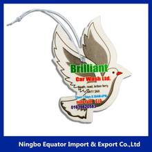 Top Quality Eco-Friendly White Dove shape car air freshener/paper air freshener natural smell