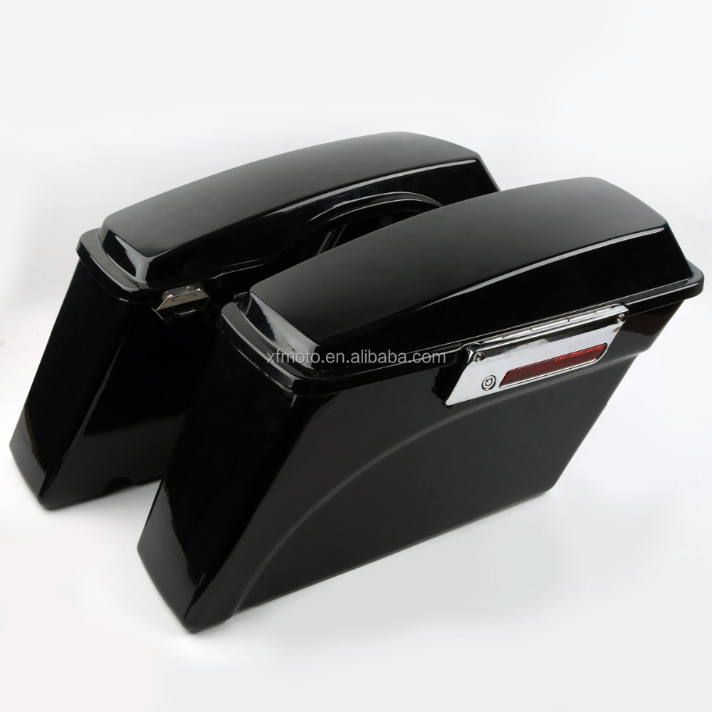 motorcycle hard saddlebags Hard Saddle bags Trunk w/Lid & Latch Key For 94-13 Touring Road King
