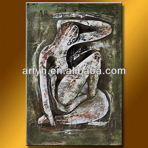 Impression portrait oil painting of nude woman