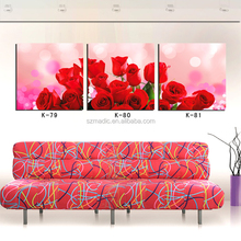 3 Piece Living Room Wall Art Home Decoration Rose Flower Painting Designs Canvas Print Painting Cuadros Abstractos Lienzos Decor