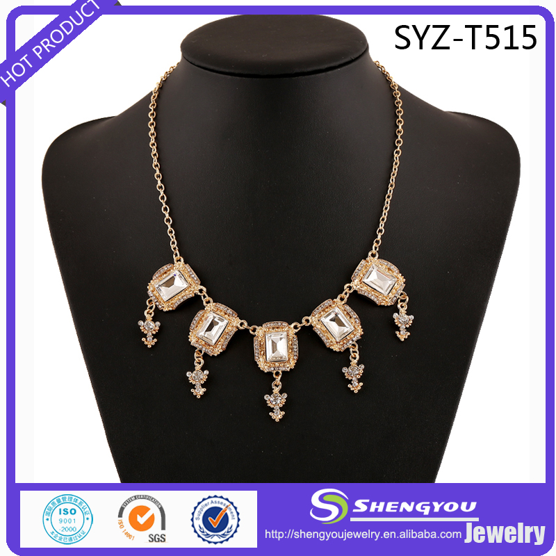 Pealike Crystal Jewelry Big Crystal Alloy Material Neckalce For Women