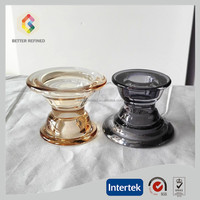 Multi-use glass colored glass candle holder