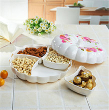 Multifunction Compote Fruit Bowl/Plates Dried Fruit Pierced Tray Pumpkin White