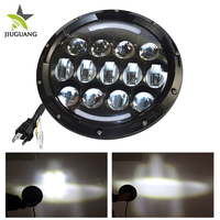 Aluminum Housing 12V 24V Dual Beam 75W 25W Wholesale Motorcycle Off Road Jeep Truck 7 Inch Round LED Headlight