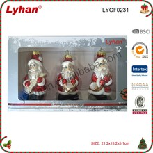 "Lyhan 3"" H glass figurines santa claus in clothes for christmas tree decoration"