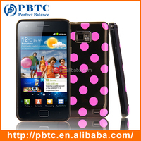 Set Screen Protector And Case For Samsung Galaxy S2 I9100 , Polka Dots Gel Cellphone Shell