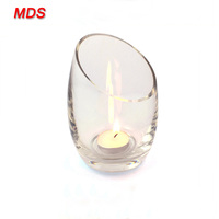 Unique slant mouth glass candle holder wedding table decorations