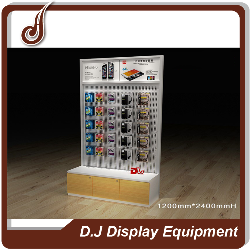 Unique design customized size MDF PD and iron material accessories cell phone retail display stands
