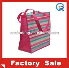 Custom printing striped laminated non woven shopping bag