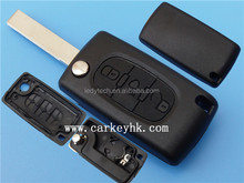 3 buttons remote car key flip blank cover peugeot 407 key