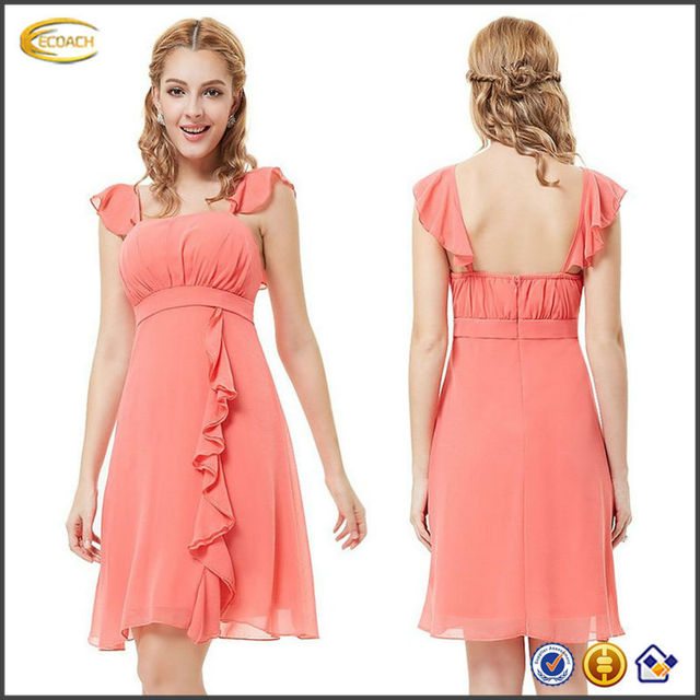 OEM wholesale Ruffles Empire Waist Padded Unadjustable straps Summer elegant patterns for bridesmaids dresses
