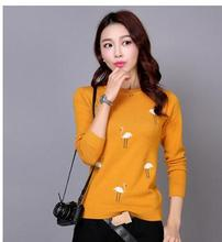 Autumn and winter fashion sweater cashmere sweater swan flocking embroidery shirt women beautiful sweater