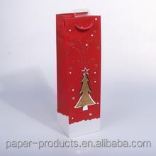 china supplier Christmas decorative wine gift paper bag with Christmas tree