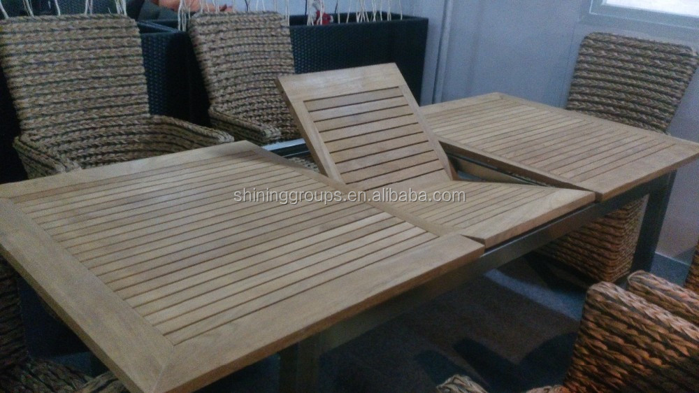 garden furniture foldable rattan/hemp rope dining table and chair set outdoor furniture
