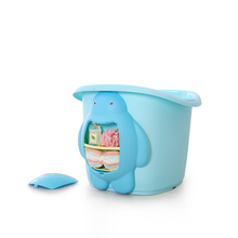 wholesales Cartoon style deep area children's bath bucket baby standing plastic bath tub for kid with step stool