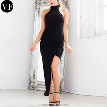 high collar elegant black fashion knee length women dresses summer