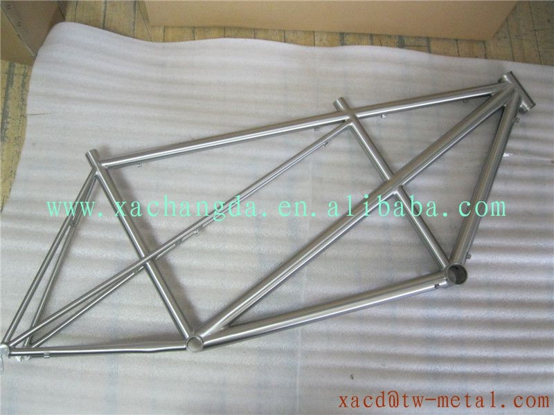 Custom chinese tandem titanium bicycle frame with handing brush finished tandem bike frame