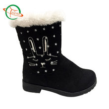 2017 hot sale winter warm Kids mid-calf flat snow boots with embroidery
