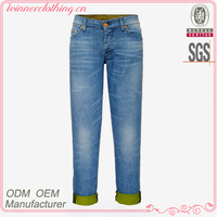New Design Blue Denim Trouser Ladies Fashion Three Quarter Pants