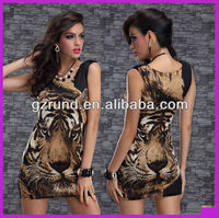 2014 New Arrival Ladies Casual Dress Desgin Summer Fashion Tiger Digital Print Sexy Dresses For Women