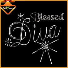 Bling Blessed Diva Iron On Rhinestone Transfer Hotfix Designs