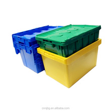 60L large plastic stacking container with lid heavy-duty blue plastic box