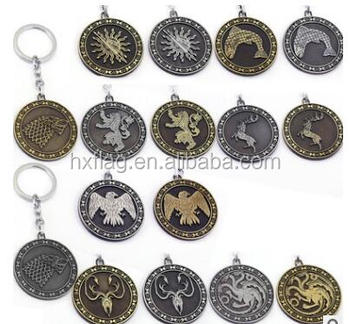 Game of thrones Shield Round Coin Keychain Silver Metal Key Ring