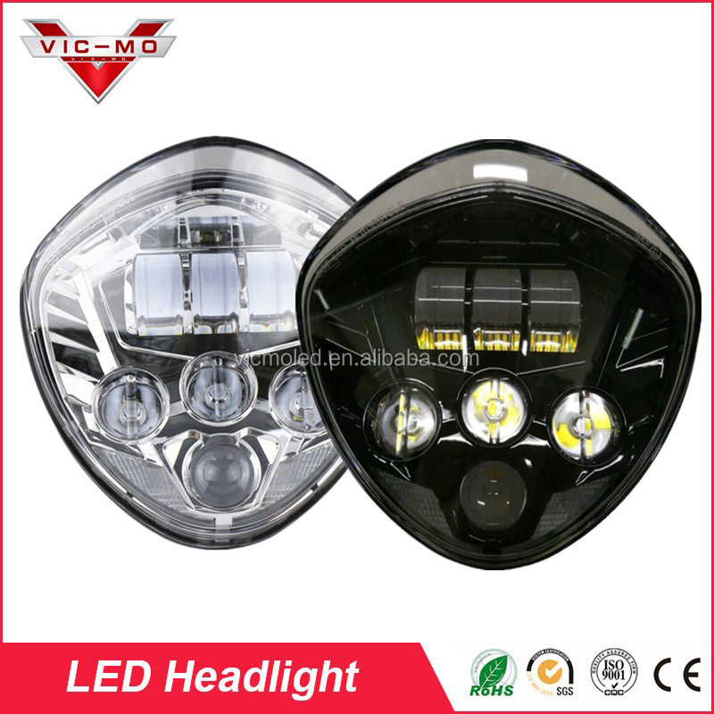 7 Inch Front Driving Headlamp Daymaker Projector LED Moto Headlight Assembly Accessories Kit-Chrome Lamp For Victory Motorcycles