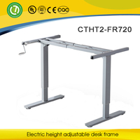 Manual hotel furniture height adjustable desk frame