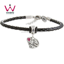 "Hallmark Pink Crystal Stainless Steel ""I love you more"" Heart Charm Black Braided Bracelet"