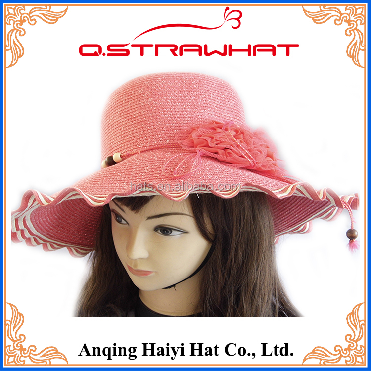 Ms pretty look pink wedding fashion straw hat for sunshade
