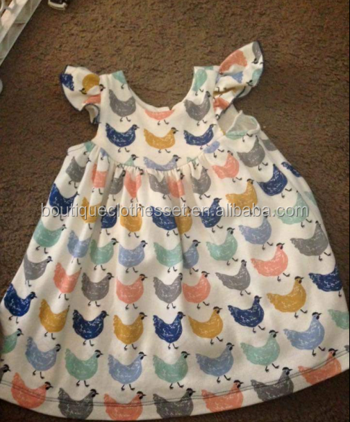 New design chicken dress cute kids girls flutter sleeve chicken dress princess summer dresses for kids