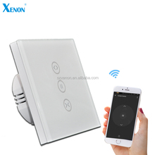 Xenon Electric Wifi Switch EU Standard AC100V-240V Crystal Glass Panel Touch Power Smart Window Curtain Switch