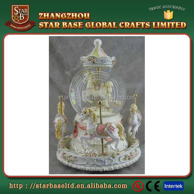 Best selling gift antique carousel horse white music box snow globe