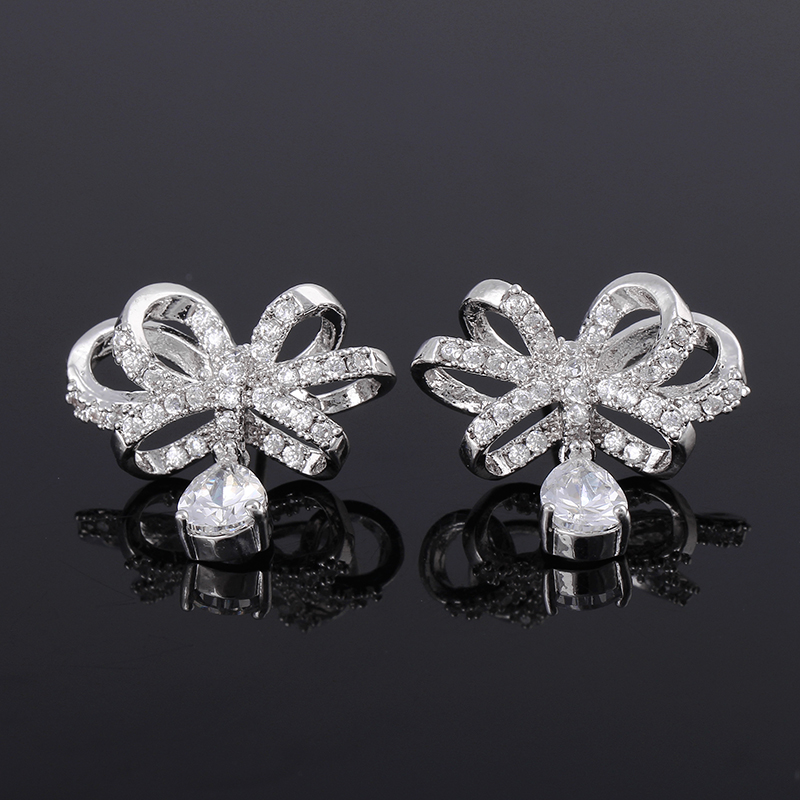 High Quality White Gold Plated Women Luxury AAA CZ Clear Zircon Pave Bow Knot and Water Drop Earrings Wedding Jewelry