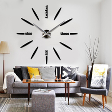 DIY Large Wall Clock 3D Mirror Surface Sticker Home Office Decor Acrylic Wall Clock Models