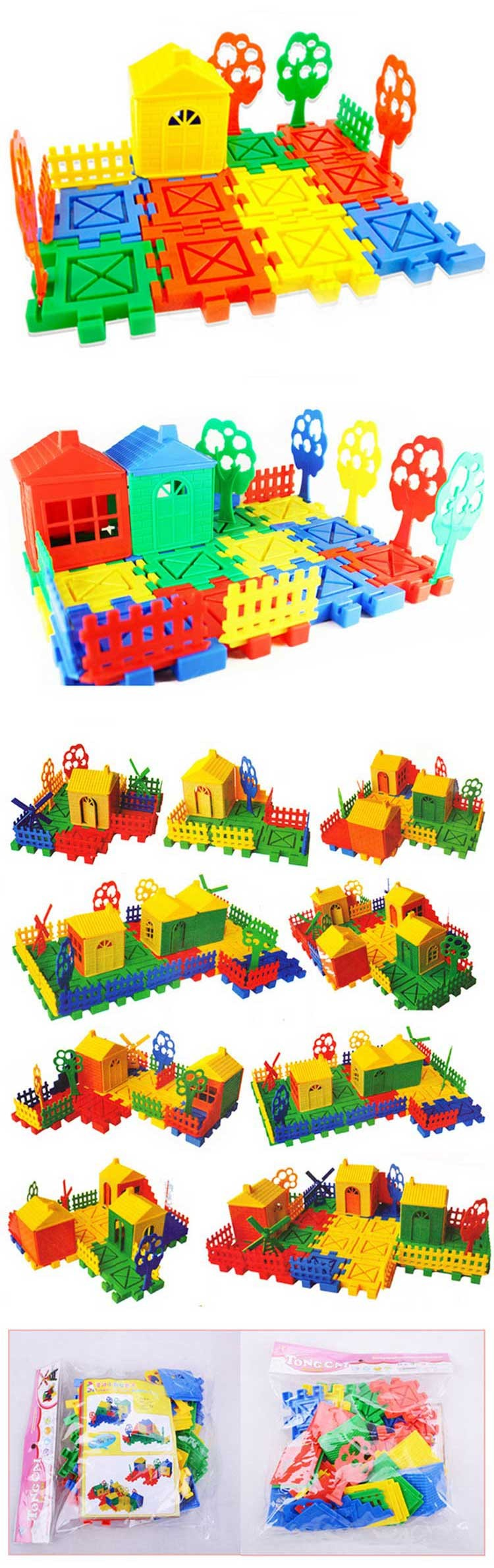 Colorful Assembling 3D Building Plastic Toys DIY Assembly Plastic House Building Kit Learn Toys for Kids Children Boys Girls Gif