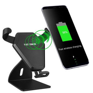New10W High quality 360 degree 2 in 1 Qi wireless mobile car charger with holder,Desktop Fast wireless charger
