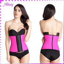 Amazon selling pink color steel bones women waist trainer corset