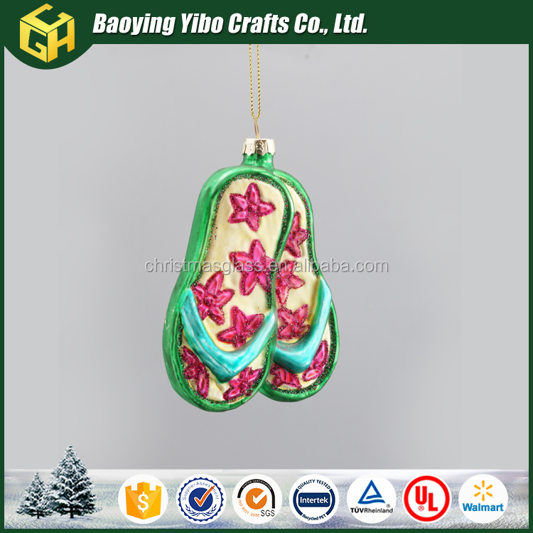 Beautiful red and green glass flip flop christmas ornaments