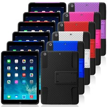 Bulk Wholesale Customized Mesh Shockproof 2 in 1 Combo Hybrid PC+Silicone Kickstand Smart Tablet Back Cover for iPad Air Case