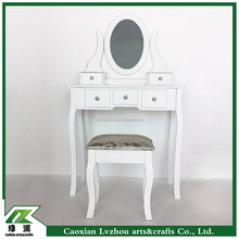wholesale white wooden mirrored dresser with stool