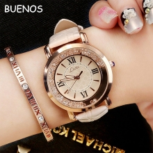 Hot Selling Vogue Crystal Diamond Leather Strap Quartz Wrist Watch for Ladies