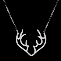 China High Quality Jewelry 925 Silver Micro-pave Diamond Big Cute Deer Antler Pendant Necklace Jewelry Christmas Items Wholesale