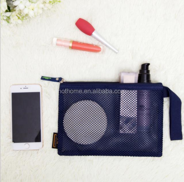 Beaute Snowflake charm Cosmetic Makeup Bag Two black mesh