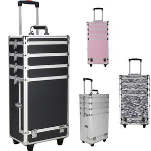 4in1 Professional Cosmetic Train Case Aluminum Rolling Trolley Makeup Case